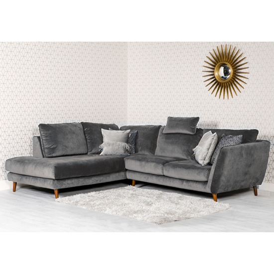 Helsinki Velvet Upholstered Left Handed Corner Sofa In Grey