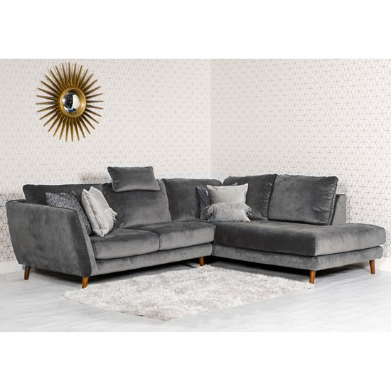 Helsinki Velvet Upholstered Right Handed Corner Sofa In Grey