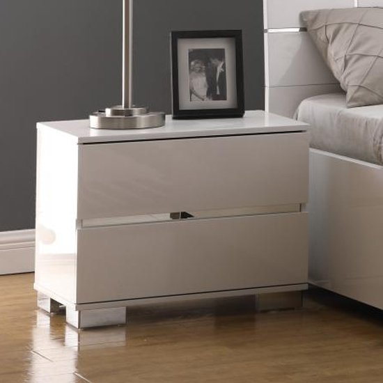 Helsinki Wooden Bedside Cabinet In White High Gloss
