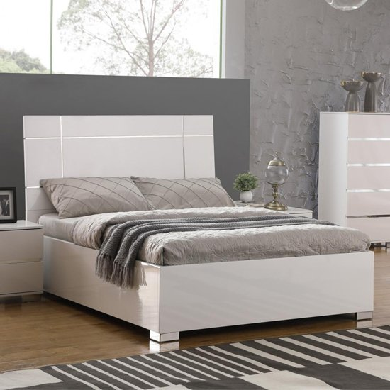 Helsinki Wooden King Size Bed In White High Gloss