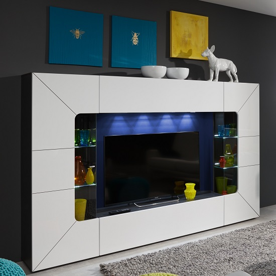 Helsinki Entertainment TV Unit In White Gloss And Grey With LED