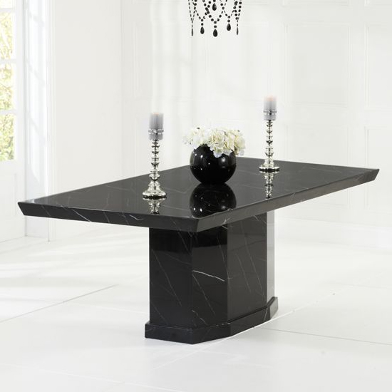 Hamlet Large High Gloss Marble Dining Table In Black_1