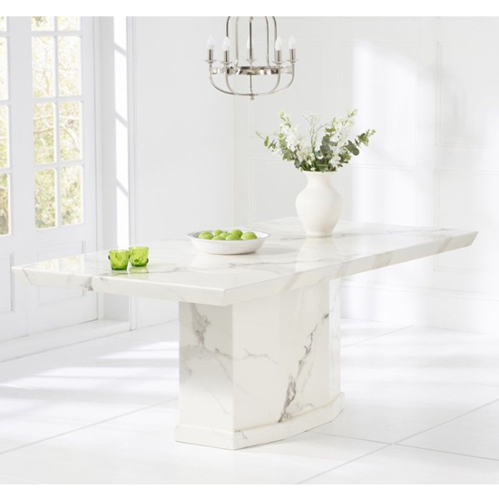 Hamlet Large High Gloss Marble Dining Table In White