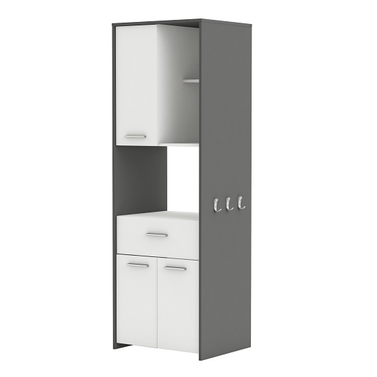 Hemnes Microwave Storage Cabinet In White And Graphite Grey_2