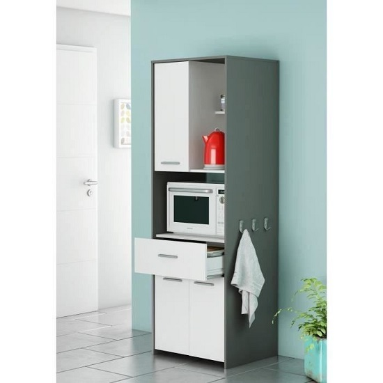 Hemnes Microwave Storage Cabinet In White And Graphite Grey_1