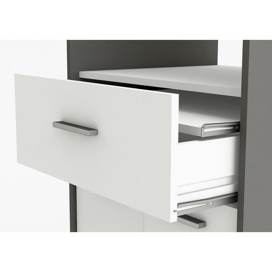 Hemnes Microwave Storage Cabinet In White And Graphite Grey_3
