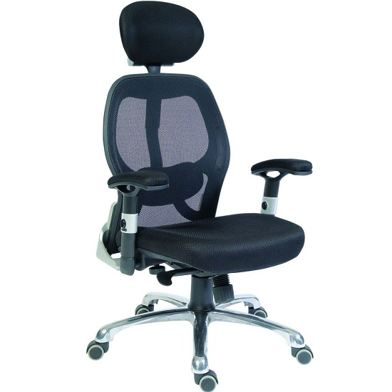 Hendon Home Office Chair In Black Mesh With Castors_1