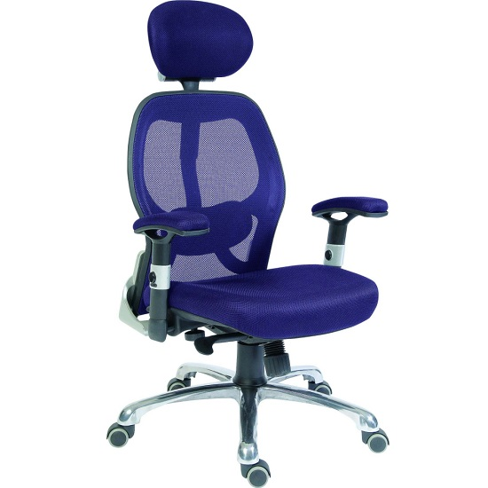 Hendon Home Office Chair In Blue Mesh With Castors_1