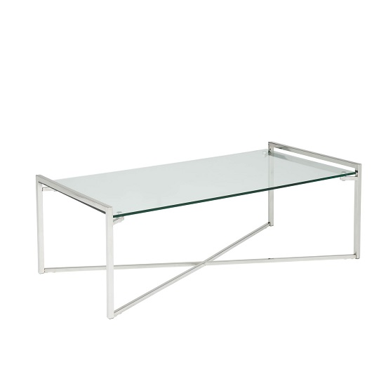 Hendrix Glass Coffee Table Rectangular In Clear With Steel Base