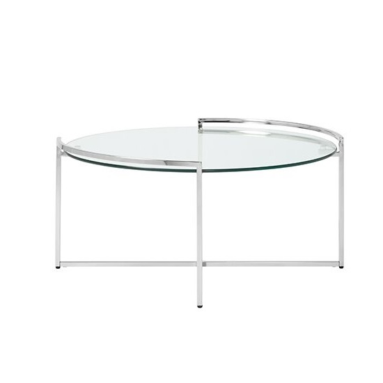 Hendrix Glass Coffee Table Round In Clear With Steel Base