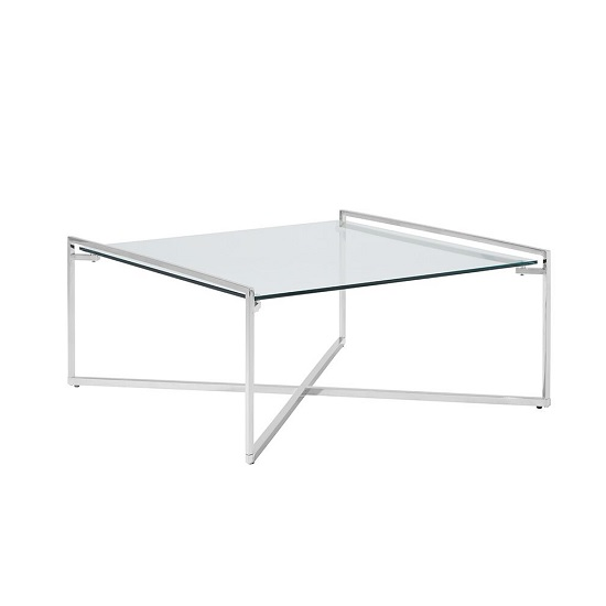 Hendrix Glass Coffee Table Square In Clear With Steel Base