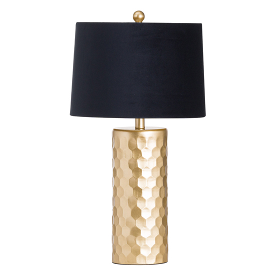 Henie Comb Ceramic Table Lamp In Gold With Black Shade