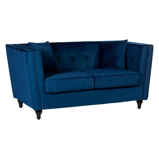 Image of Henley 2 Seater Sofa In Blue Velvet With Wooden Legs