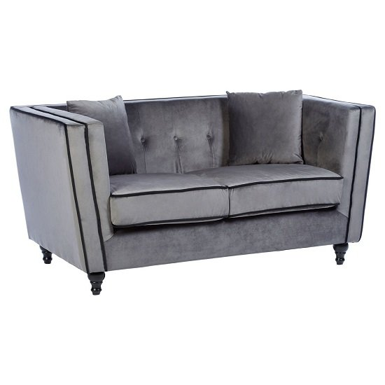 Image of Henley 2 Seater Sofa In Grey Velvet With Wooden Legs