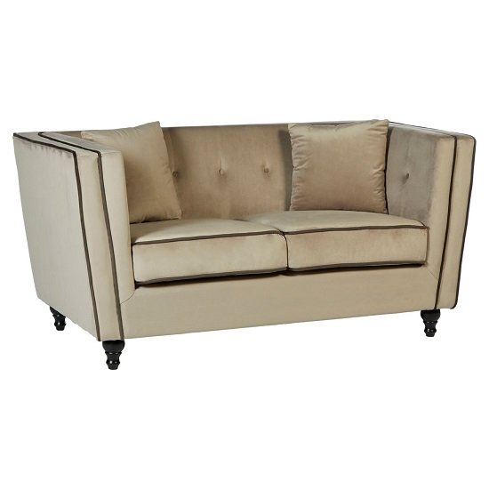 Image of Henley 2 Seater Sofa In Mink Velvet With Wooden Legs