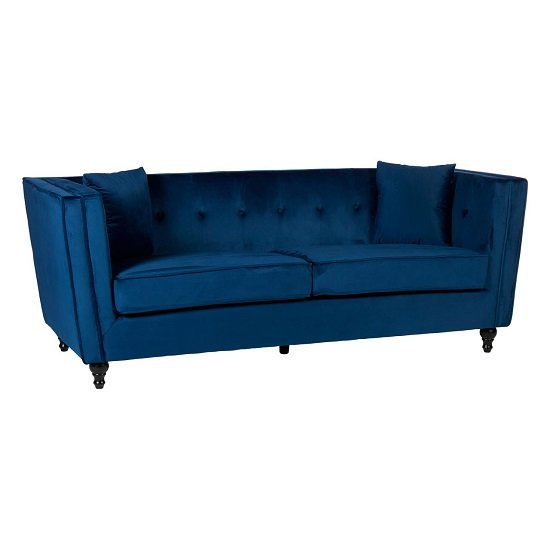 Image of Henley 3 Seater Sofa In Blue Velvet With Wooden Legs