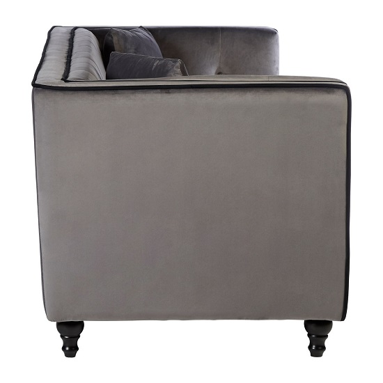 Hannah 3 Seater Sofa In Grey Velvet With Wooden Legs_3