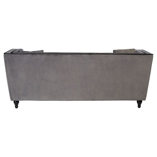 Hannah 3 Seater Sofa In Grey Velvet With Wooden Legs_4
