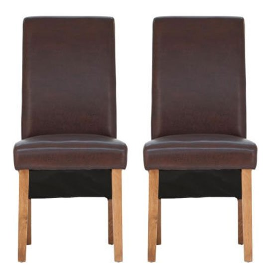 Henley Antique Brown Leather Dining Chair With Oak Leg In Pair