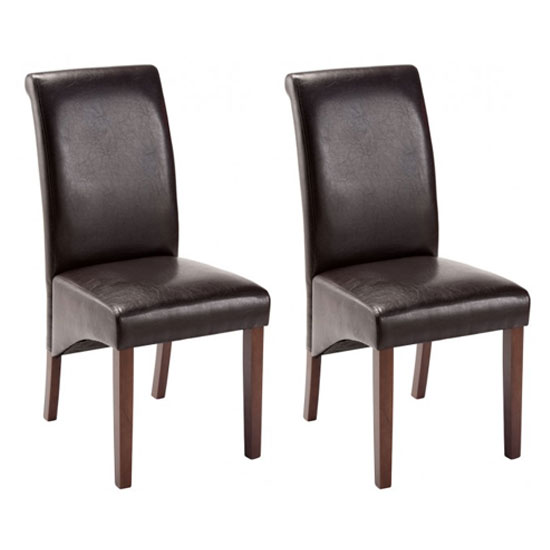 Henley Black Leather Dining Chair In A Pair With Dark Leg