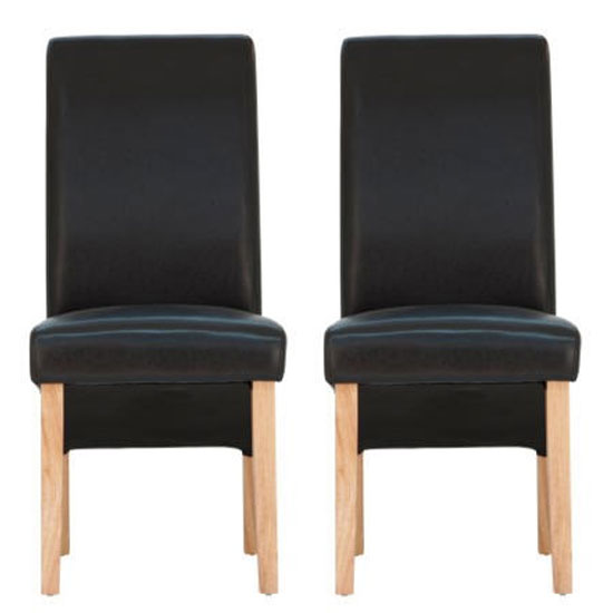 Henley Black Leather Dining Chair With Oak Leg In Pair