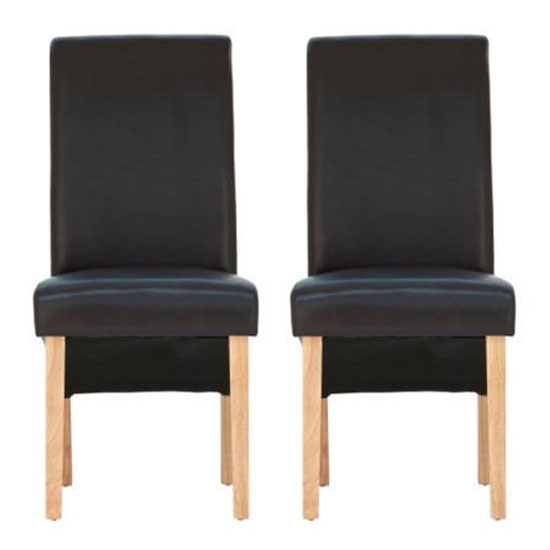 Henley Dark Brown Leather Dining Chair With Oak Leg In Pair