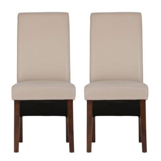 Henley Ivory Leather Dining Chair In A Pair With Dark Leg Furniture In Fashion
