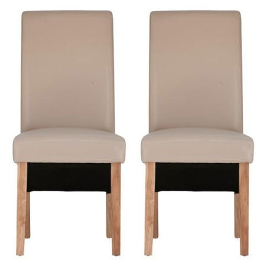 Henley Ivory Leather Dining Chair With Oak Leg In Pair