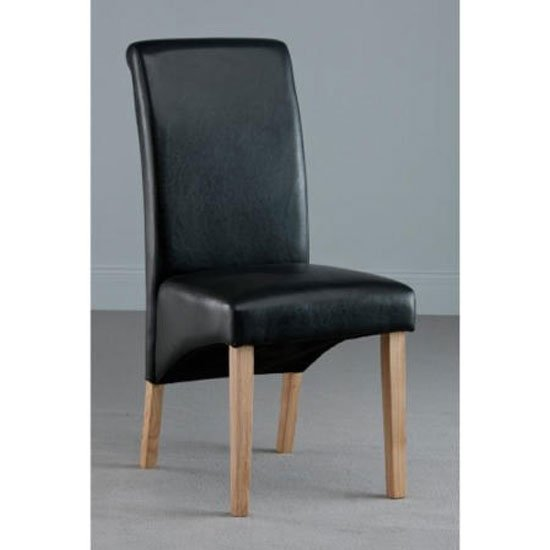 Henley Leather Dining Chair In Black With Oak Leg