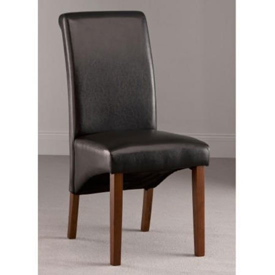 Henley Leather Dining Chair In Dark Brown With Dark Leg
