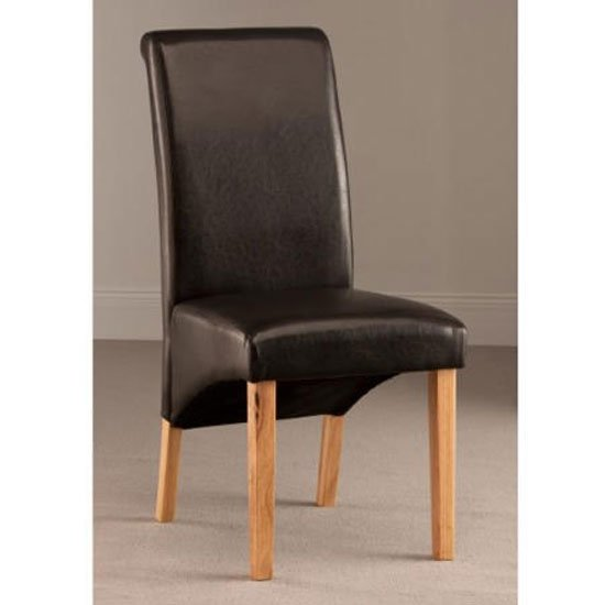 Henley Leather Dining Chair In Dark Brown With Oak Leg