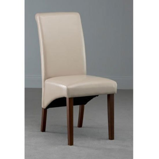 Henley Leather Dining Chair In Ivory With Dark Leg_1