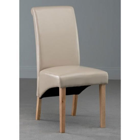 Henley Leather Dining Chair In Ivory With Oak Leg