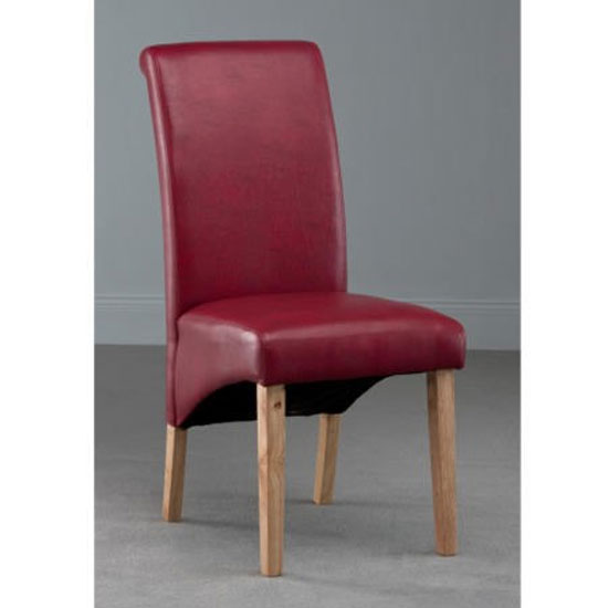 Henley Leather Dining Chair In Red With Oak Leg
