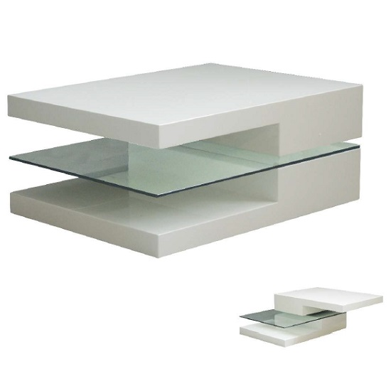 Henri Rotating Coffee Table In White High Gloss With Glass