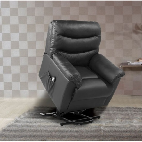 Read more about Henrick modern rise and recliner chair in black faux leather