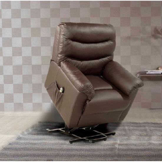 Read more about Henrick modern rise and recliner chair in brown faux leather