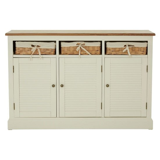 Henrik Wooden Sideboard In Cream With 3 Doors