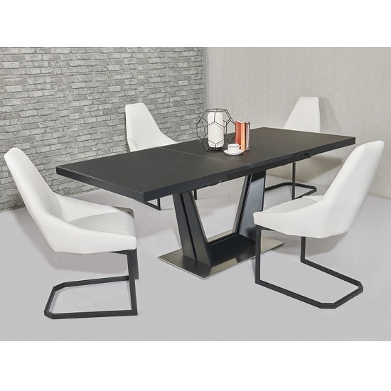 Henry glass extendable dining table matt black 6 camby pu for 10 seater glass dining table and chairs