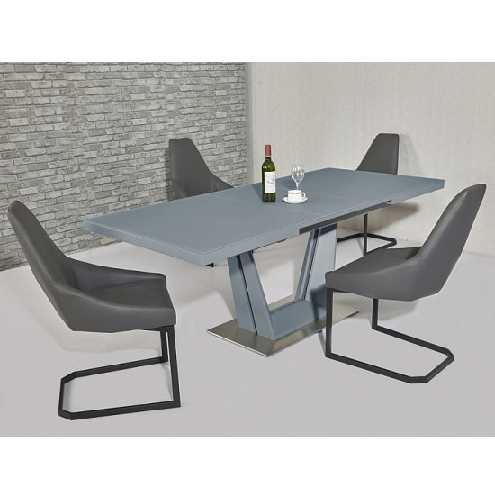 Henry Glass Extendable Dining Table Matt Grey 6 Camby PU Chairs