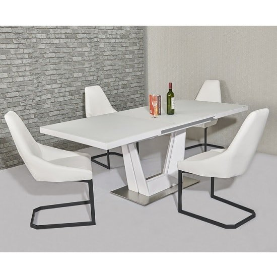 Henry Glass Extendable Dining Table Matt White 6 Camby PU Chairs