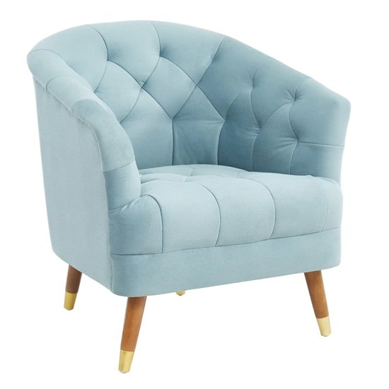 Hensley Velour Fabric Armchair In Blue With Oak Legs