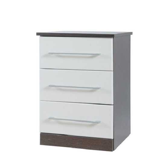 Heaven 3 Drawer High Gloss Chest in Dark Wood And White Wood