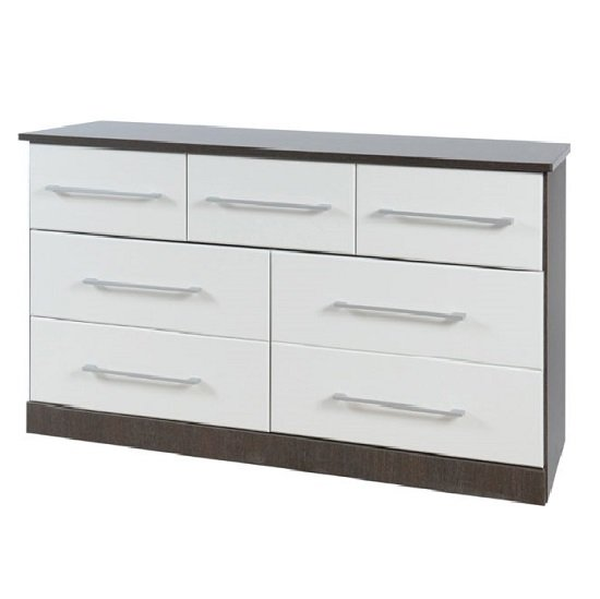 Heaven 7 Drawer Combi Chest In Dark Wood With White Wood