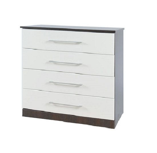 Heaven 4 Drawer Wider Chest In Dark Wood With White Wood