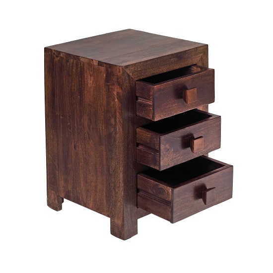Henzler Wooden Bedside Cabinet In Dark With 3 Drawers_2