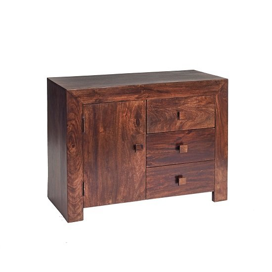 Henzler Wooden Compact Sideboard In Dark With 3 Drawers