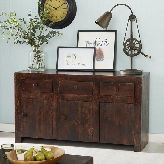 Henzler Wooden Sideboard In Dark With 3 Doors And 3 Drawers