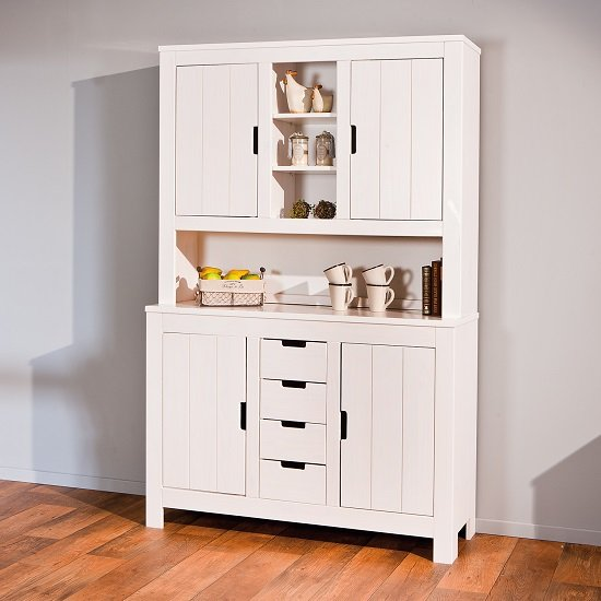 Henzler Display Cabinet In White With 4 Doors And 4 Drawers