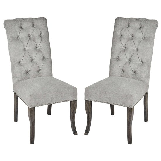 Hepton Ring Pull Grey Fabric Dining Chairs In Pair